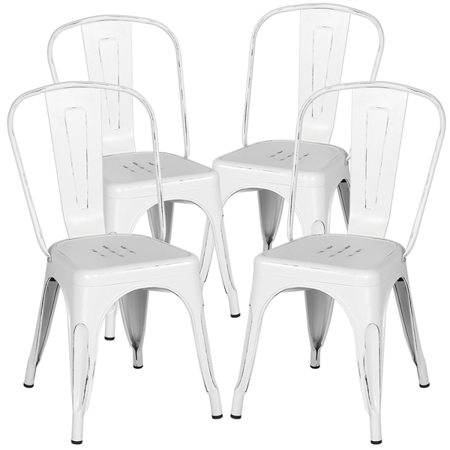 18 Inch Classic Iron Metal Dinning Chair Indoor Outdoor Use Stackable Coffee Chair Distressed White Set Of 4 Walmart Com In 2020 Metal Kitchen Chairs Metal Dining Chairs Dinning Chairs