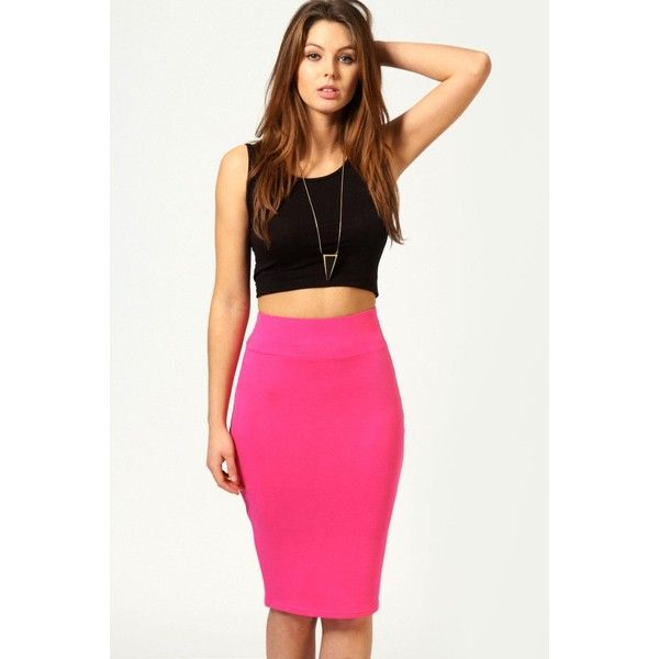 Boohoo Basics Maddie Jersey Midi Length Tube Skirt ($8) ❤ liked on Polyvore featuring skirts, pink, tube skirt, white jersey, midi tube skirt, white jersey skirt and pink bodycon skirt