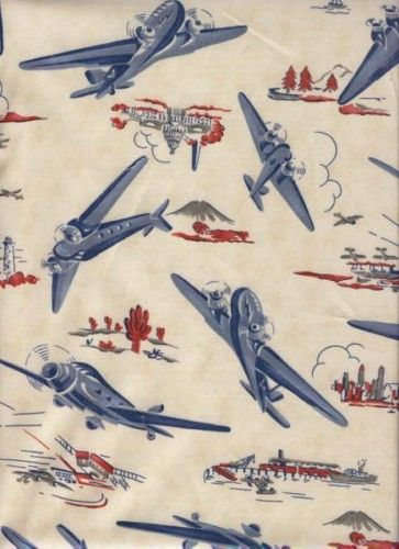 Details About Retro Vintage Look Airplane Two Fabric
