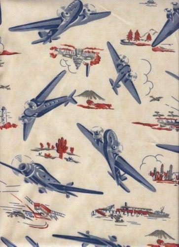 Retro Vintage Look Airplane Fabric Cotton 54 Quot Moda New