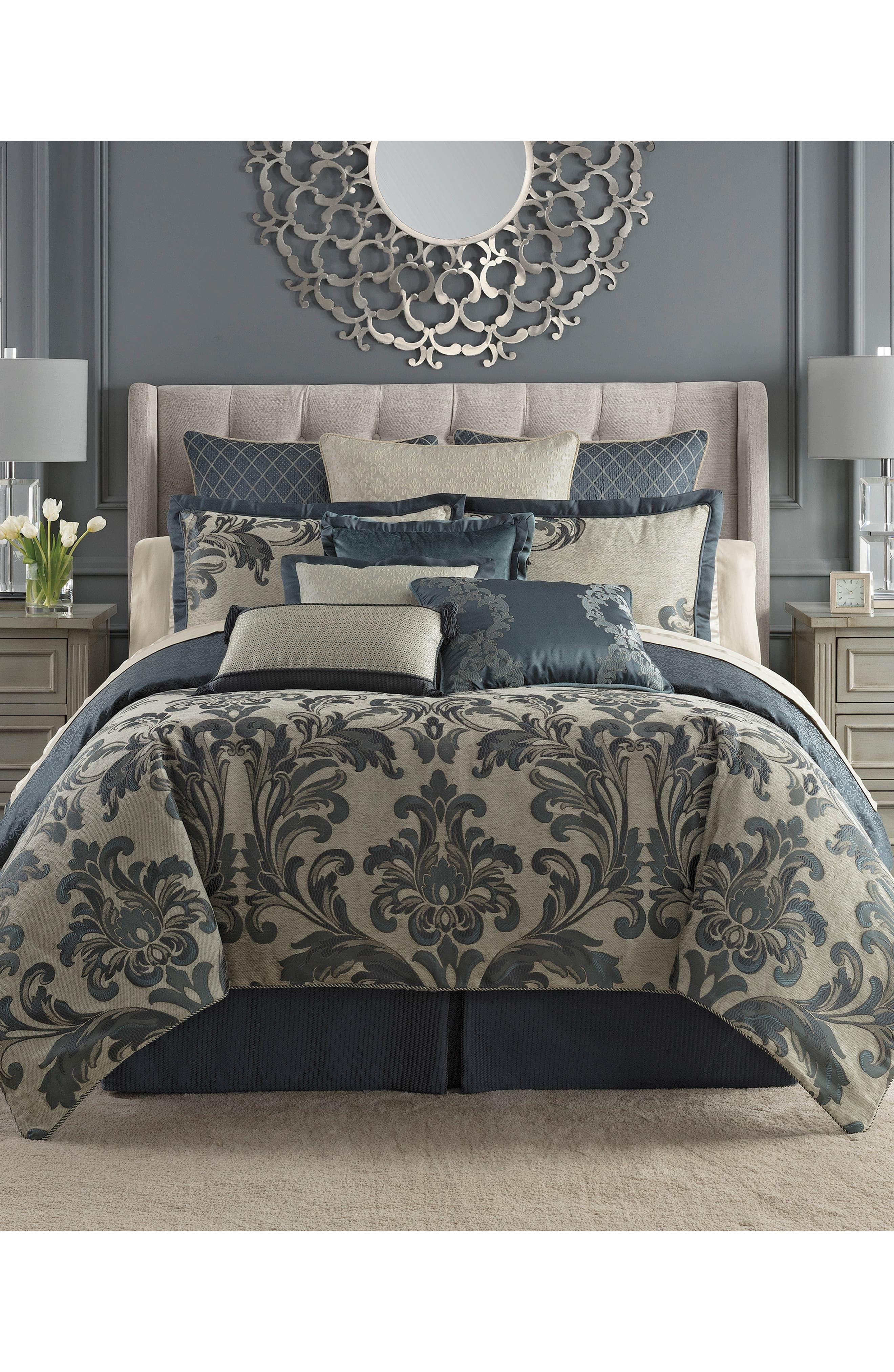 Waterford Everett Reversible Comforter Sham Bed Skirt Set Size Queen Blue In 2020 Bed Linens Luxury Teal Bedding Sets Bed Linen Sets