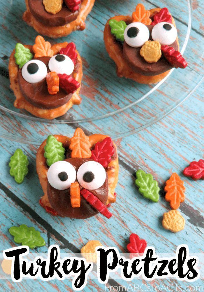 Thanksgiving Snacks For Kids Turkey Pretzels From Abcs To Acts Easy Thanksgiving Snacks Thanksgiving Snacks Easy Snacks For Kids