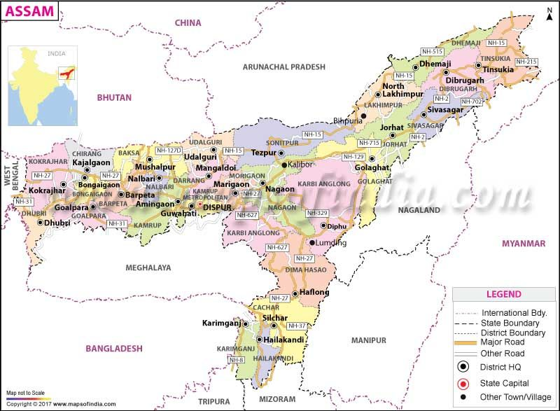 road map of assam state Assam Map Map Assam Railway Line Map road map of assam state
