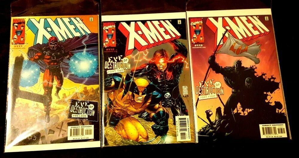 X Men Eve Of Destruction 111 112 113 Marvel Bagged Boarded 2001 X Men Marvel Fantasy Comics