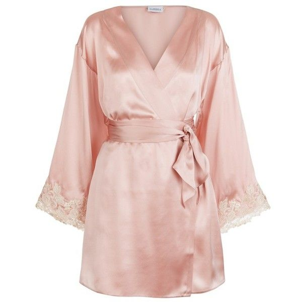 La Perla Maison Powder Pink Silk Satin Short Robe With Frastaglio ...