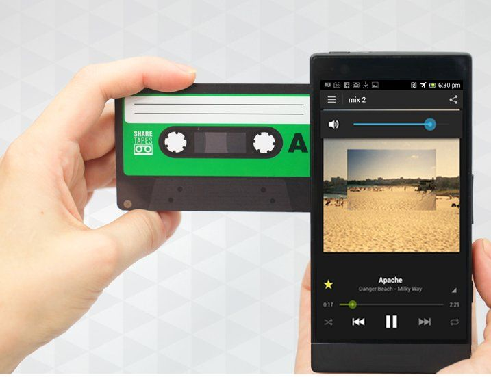 Sharetapes: Sharetapes use NFC or QR code scanning to share playlists with friends. It's a way to remember the old days when you made a mixtape for someone and actually gave them a tape. Sharetapes can be linked to Playlists on Spotify, Youtube, 8tracks, and other online music services.