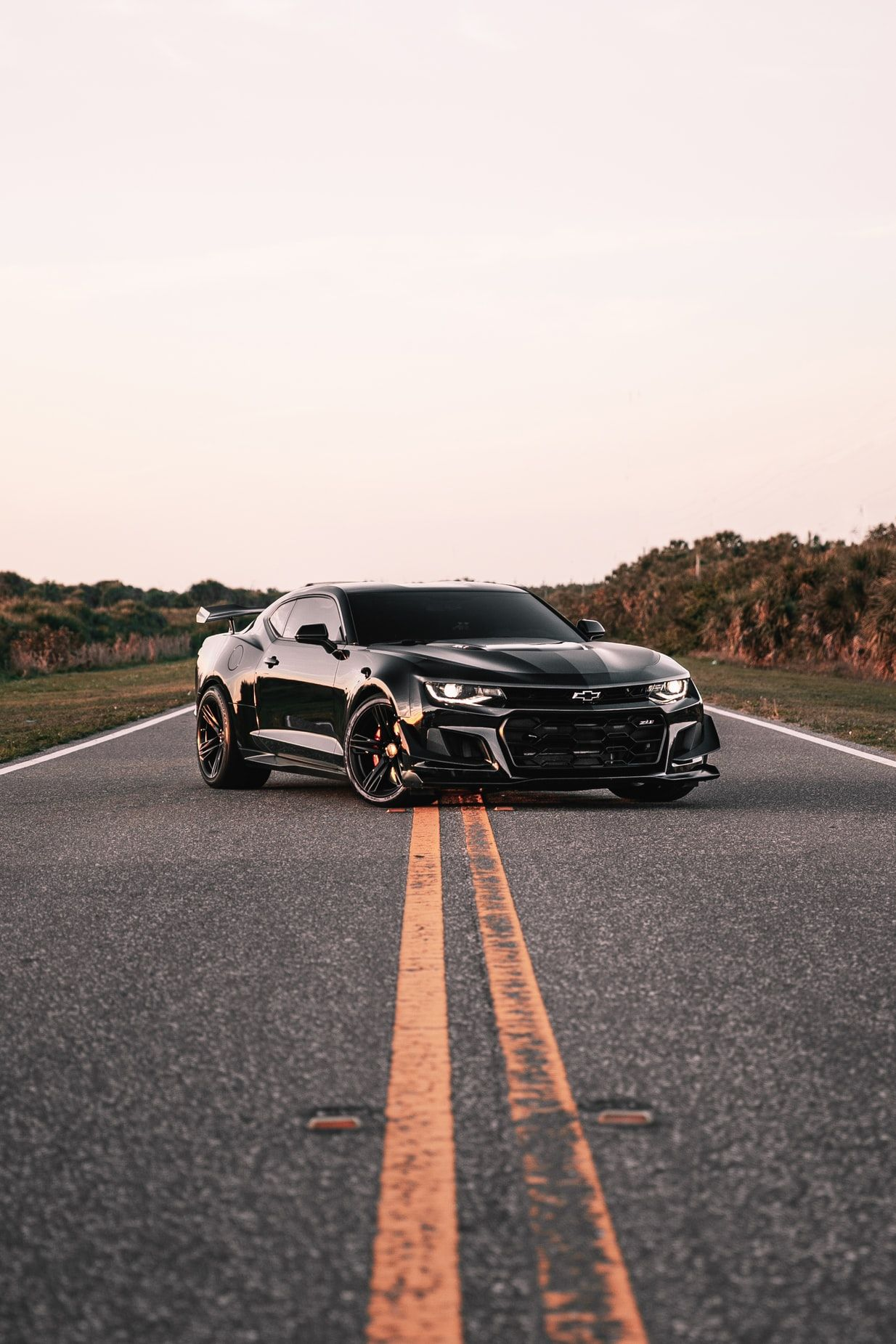 parked black coupe on road Chevrolet wallpaper, Camaro