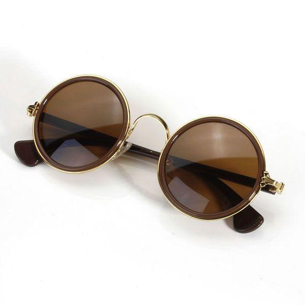 Fashion Men Women Vintage Retro Round Golden Metal Mirrored Sunglasses - NewChic