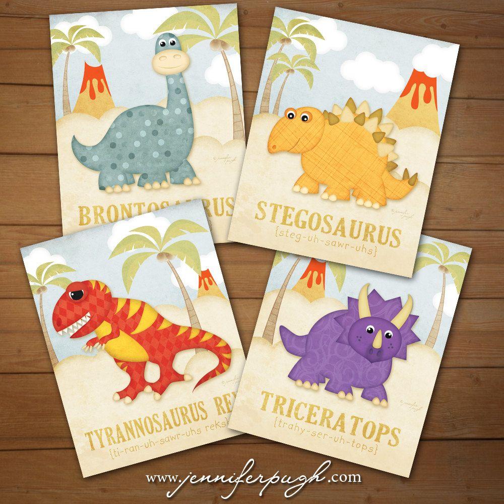 Dinosaur Children\'s Decor - Set of 4 Dino 11x14 Art Print - Dinosaur ...