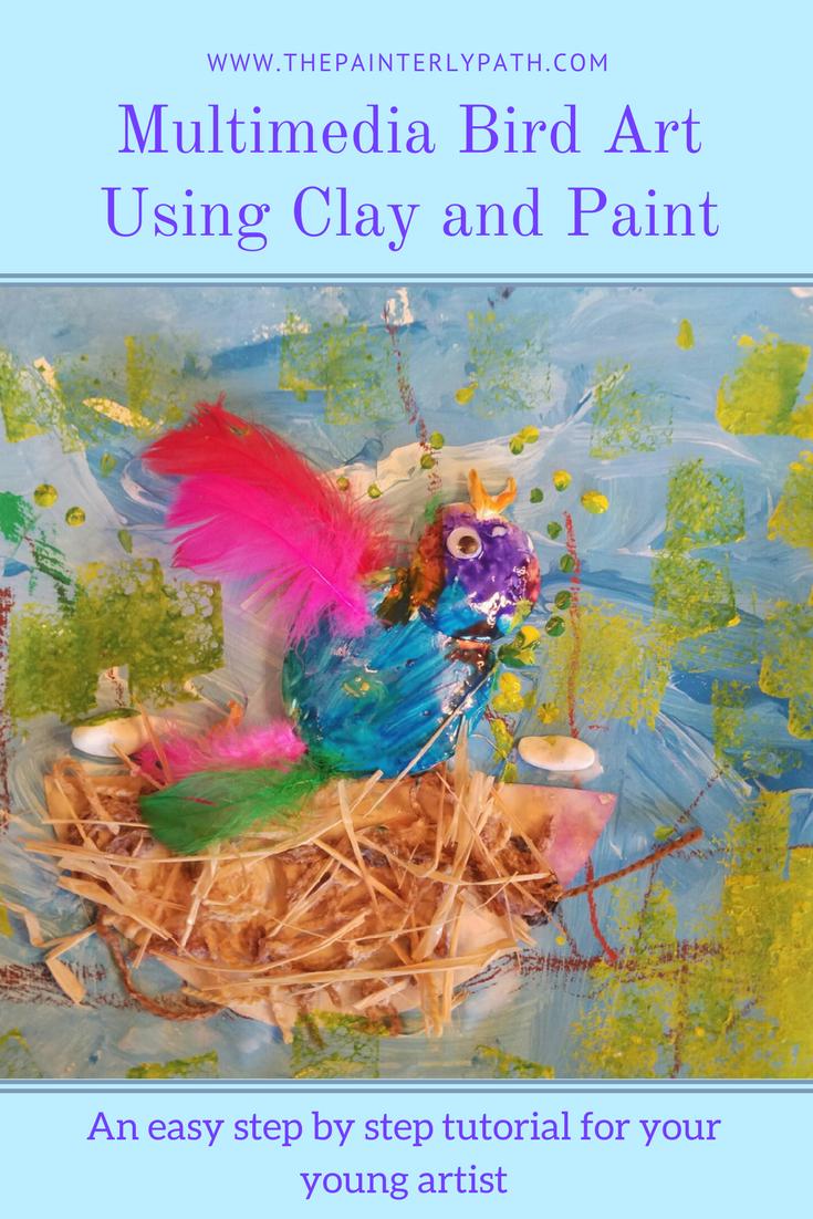 Multimedia Bird Art Using Clay And Paint Mixed Media Art