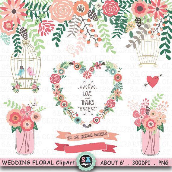 "Wedding Clipart ""WEDDING FLORA""clipart,Floral Frames,Mason Jar,Birdcage,Wreath,Love Bird,laurels,Wedding invitation,Instant Download Wf086 by SAClipArt on Etsy"