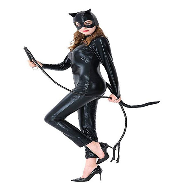 29be753e047 2018 New Sexy Cat Suit Fancy Dress Shiny Black Cat girls Halloween Cosplay  Costumes Synthetic Leather Jumpsuit