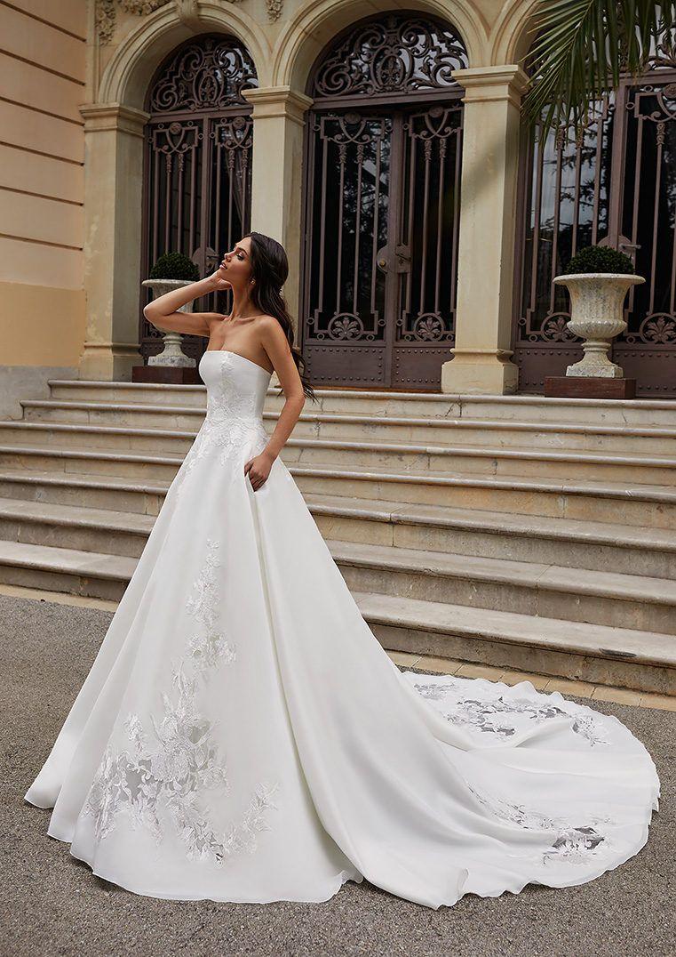 Strapless Princess Wedding Dress With Open Back Ingram Wedding Dress Cathedral Train Wedding Dresses Strapless Light Blue Wedding Dress [ 1076 x 761 Pixel ]