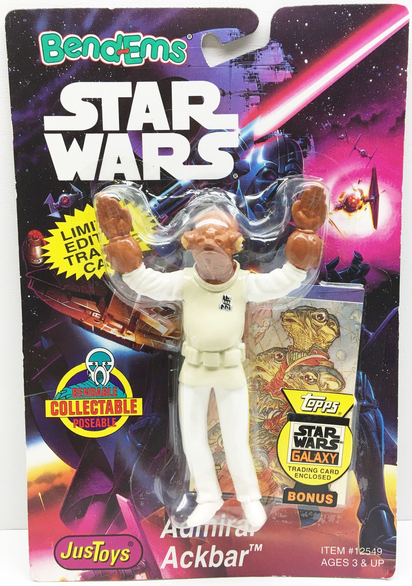 (TAS032992) - 1994 Just Toys Star Wars Bend-Ems Action Figure - Admiral Ackbar