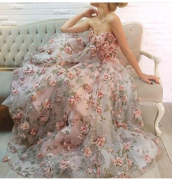 Inexpensive Beautiful Unique Flowers Charming Long Prom Dresses ...