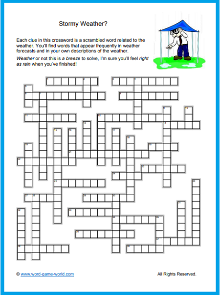 Crossword Puzzles Free Fun And Printable Weather Words Crossword Puzzles Crossword