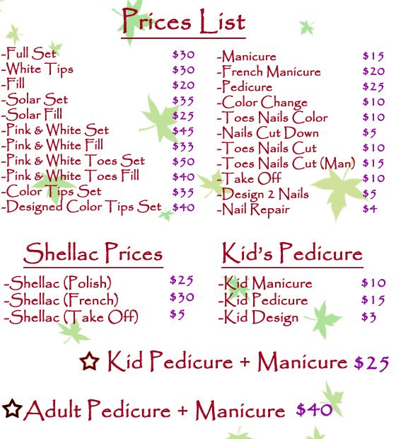 price list for nails