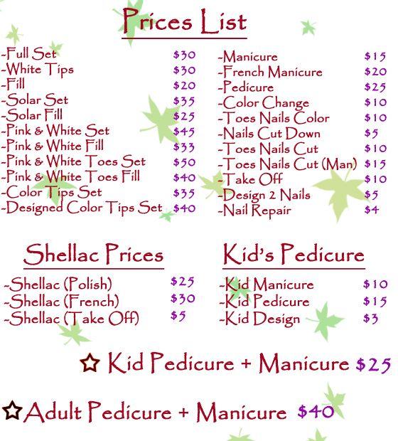 Price List For Nails Mobile Nail Salon Nail Salon Design Nail Prices
