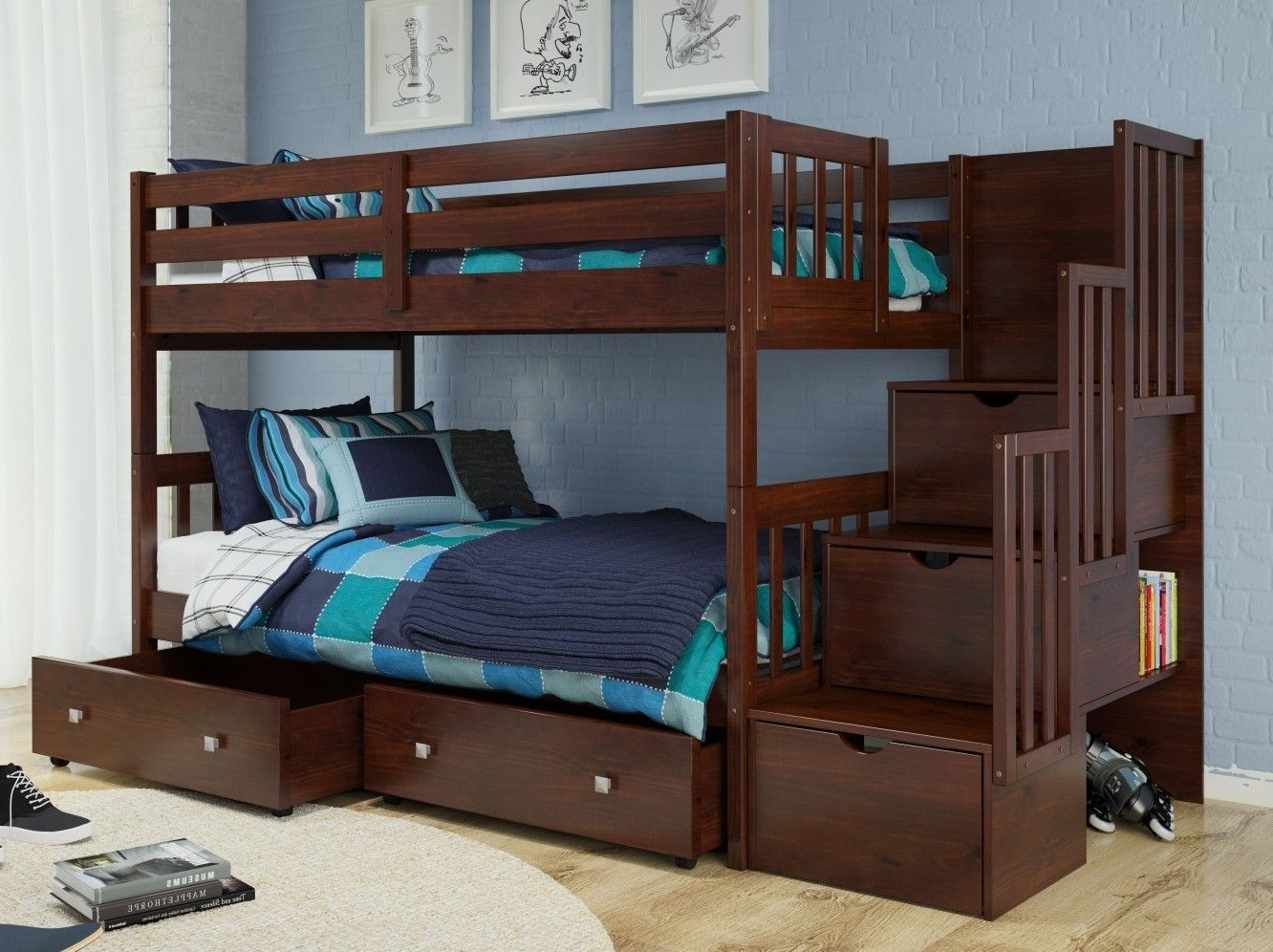 1019-TTCP Stairway Bunk Bed & 505-CP Cappaccino | Kid's Only