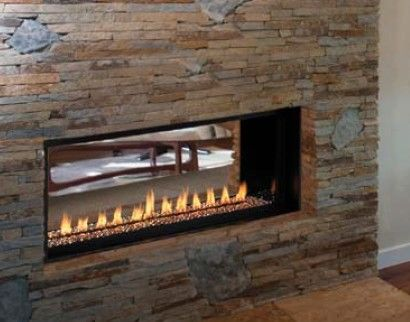 See Through Linear Gas Fireplace | Venice Lights Linear Gas Fireplace Shown  With See Thru