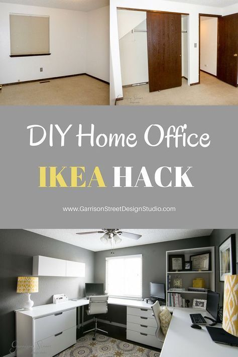 real home office garrisonstreetdesignstudio ikea hack before and after makeover decor design diy makeovers also rh pinterest