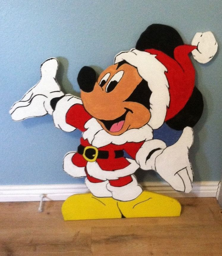 Santa mickey mouse wood cut out standee fun christmas for Decoration noel mickey