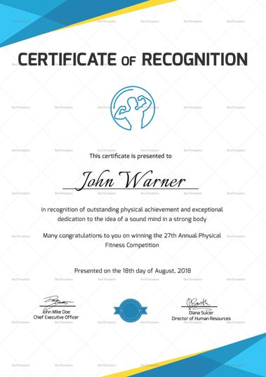 physical fitness recognition certificate template 999 formats included ms word photoshop file size 826x1169 inchs certificates certificatedesigns