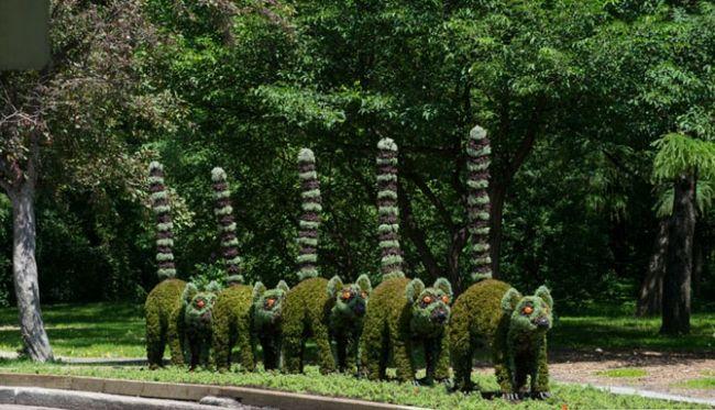 lemur gartenskulptur blumenbeete-anlegen botanischer garten,