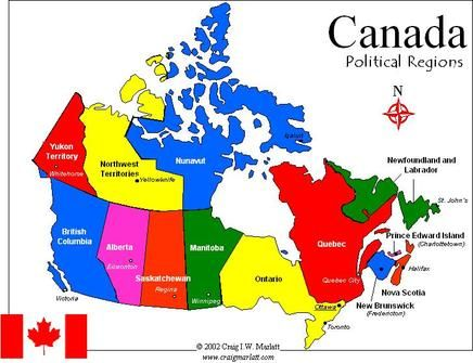 Map Of Canada Only On a blank map of Canada locate the following Political and