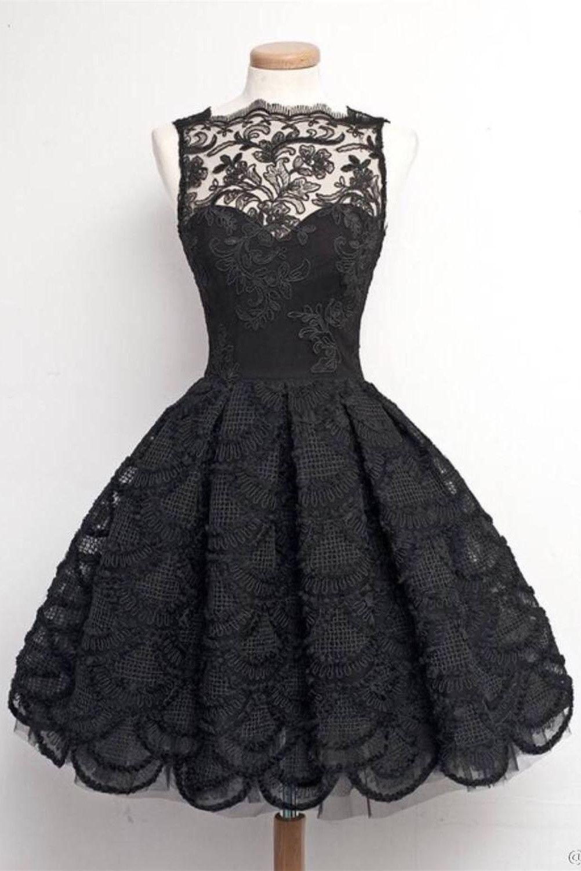 Pretty Gorgeous Black Lace Handmade Vintage Homecoming Dresses K
