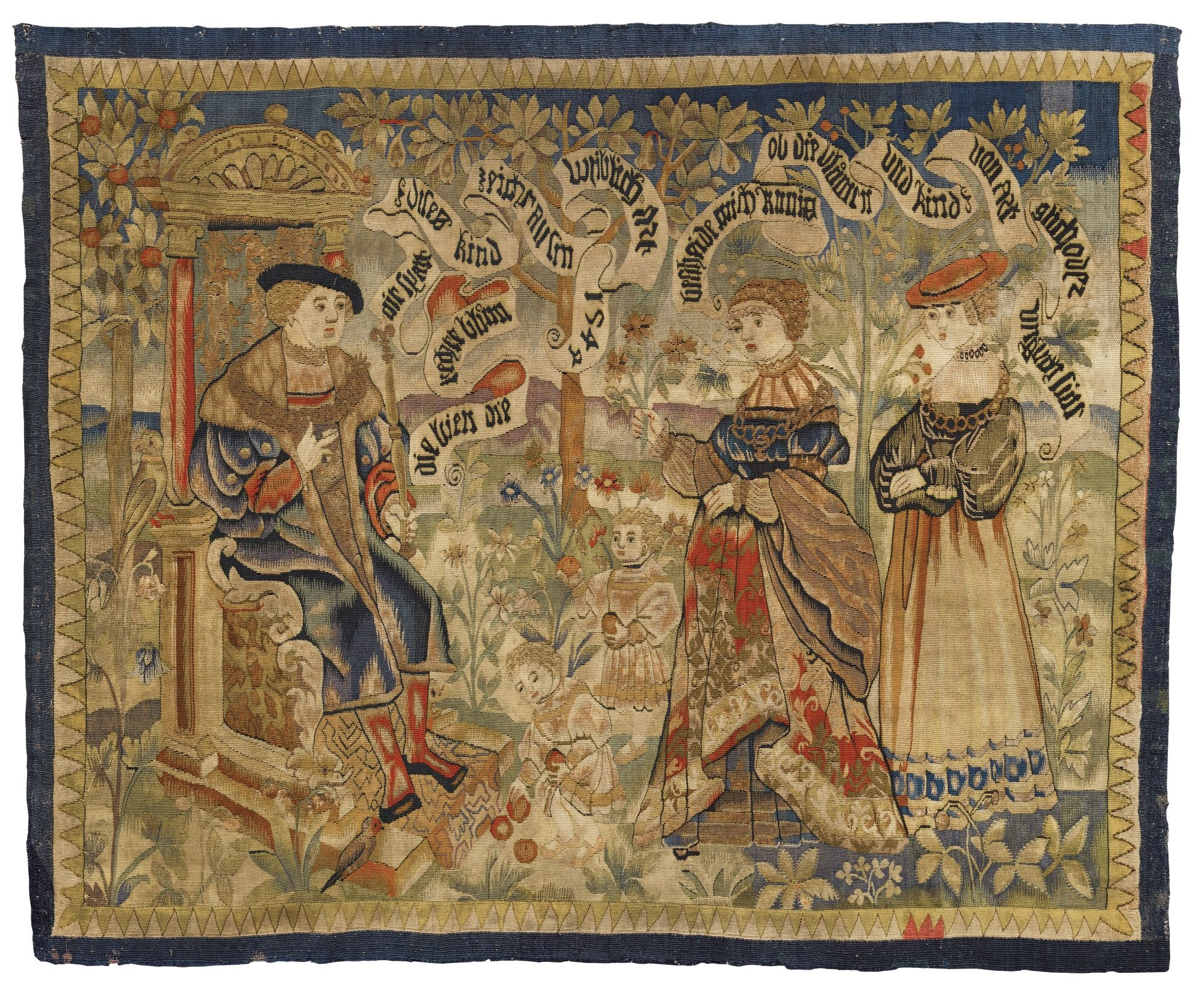An Upper Rhenish Tapestry Depicting King Solomon And The Two Riddles Of The Queen Of Sheba Dated 1544 Probably Alsace Wandtapijten