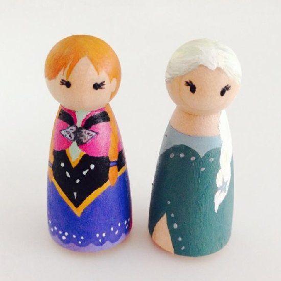 Make Your Own Frozen Peg Doll Princesses Frozen Party Wood Peg