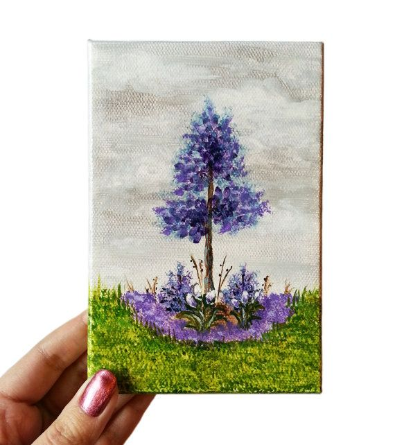 Acrylic painting mini canvas purple 4 x 6 flowers original for Things to do with mini canvases