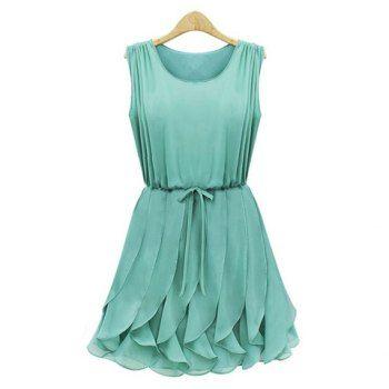Vestido plisado color sólido Escote redondo sin mangas refrescantes mujeres del estilo de la gasa para Vender - La Tienda En Online IGOGO.ES