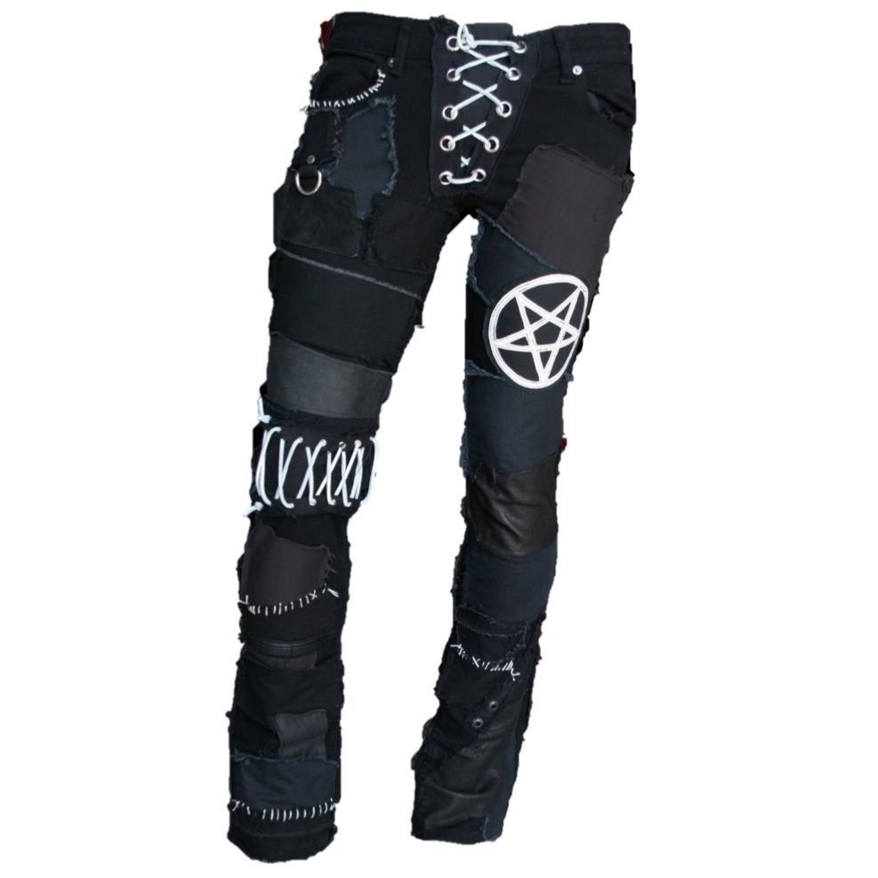 CUSTOM MADE PATCHED PANTS WITH PENTAGRAM AND LEATHER PATCHES. www.ForgottenSaintsLa.com