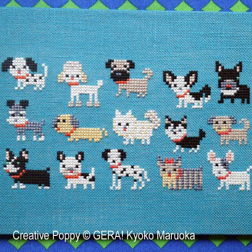 15 Dog breeds cross stitch pattern by Gera! by Kyoko Maruoka #sewingbeginner
