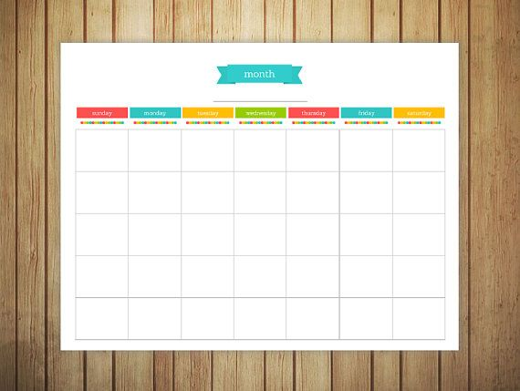 Printable Monthly Planner Blank  Bright Colors  Planners And