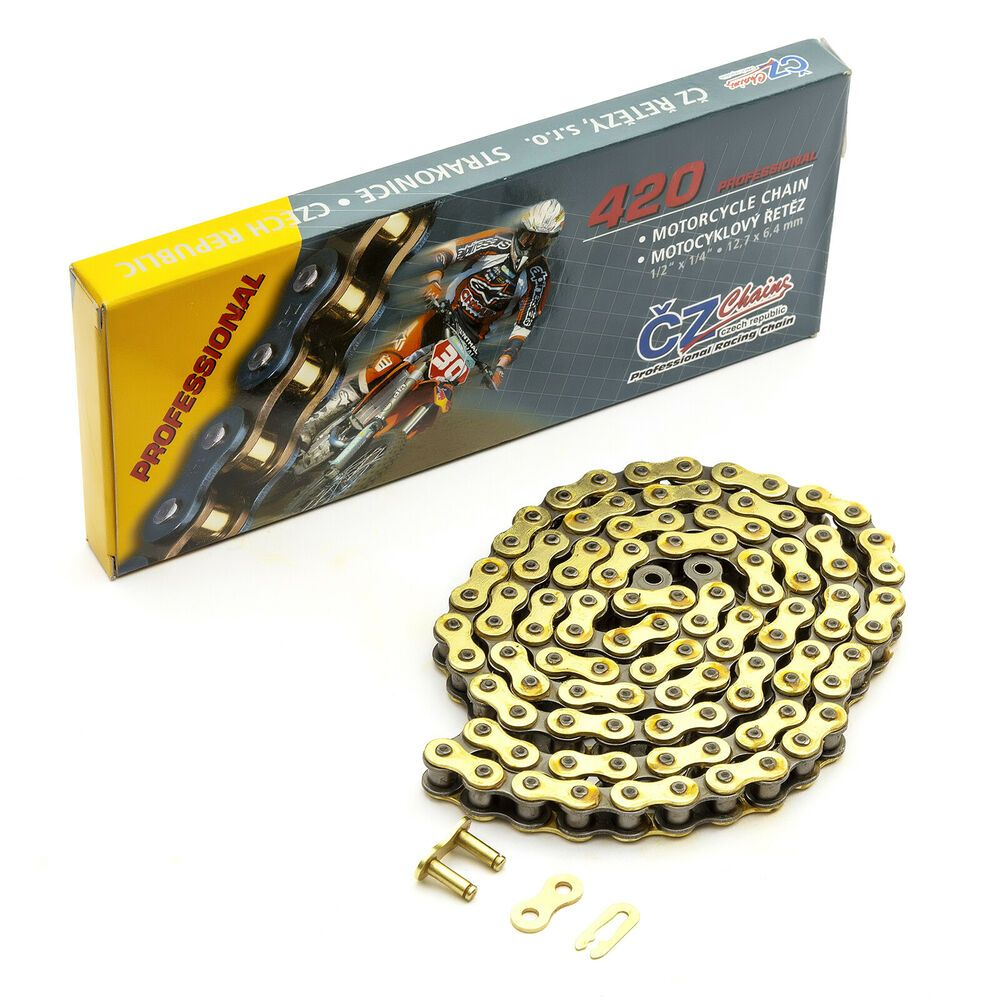 Pitbike Dirtbike Chain Gold 420 51 102 Link CZ Brand Includes Split King Link