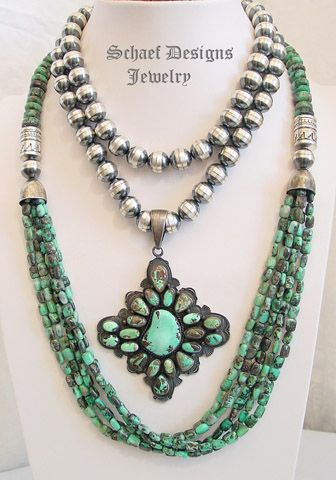 Schaef Designs gem silica and sterling silver tube bead multi strand long necklace with bench beads and Carico Lake turquoise pendant