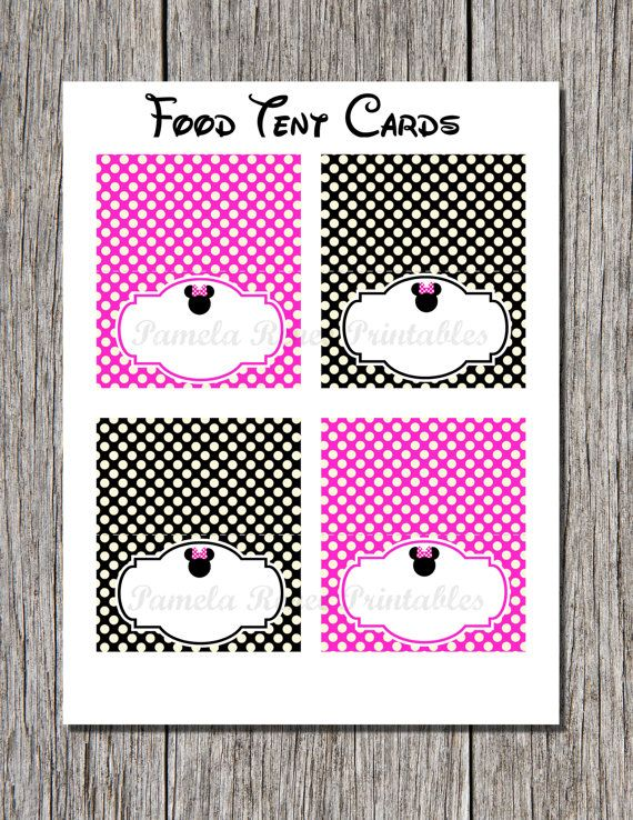 instant download editable hot pink mouse printable tent cards place cards you type hot. Black Bedroom Furniture Sets. Home Design Ideas