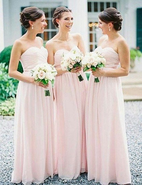 Pale Pink Bridesmaid Dresses Strapless Long Dusty Fs102