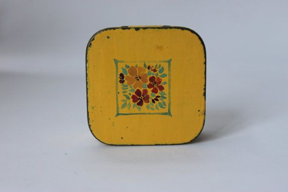 Small Shabby chic tin yellow floral pattern by redrococogarden