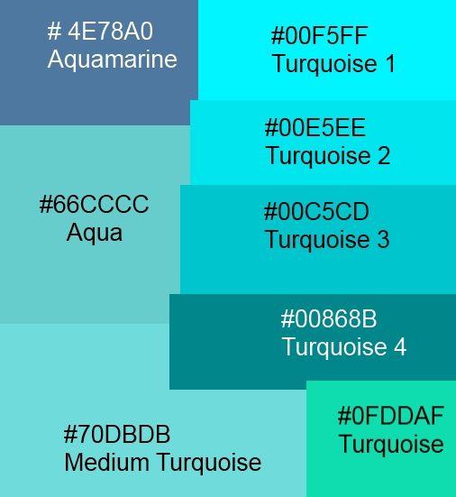 blue hex codes | color palette & fonts | pinterest | aqua, hex