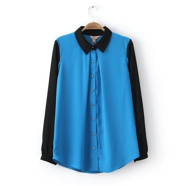 Peter Pan Collar Long Sleeve Color Block Buttons Women Tops