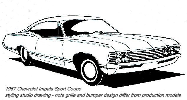 1967 chevy impala drawings