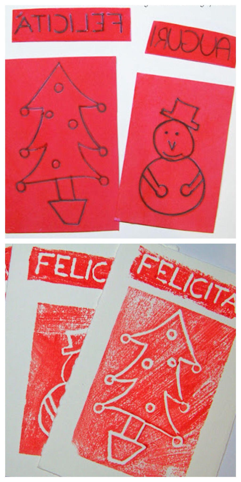 Biglietti Di Natale Fai Da Te Con Foto.Biglietti Di Natale Fai Da Te Stampati Con La Gomma Crepla