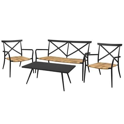Milos Rattan  Aluminium 4 Seater Lounge Set in Black Get Out in