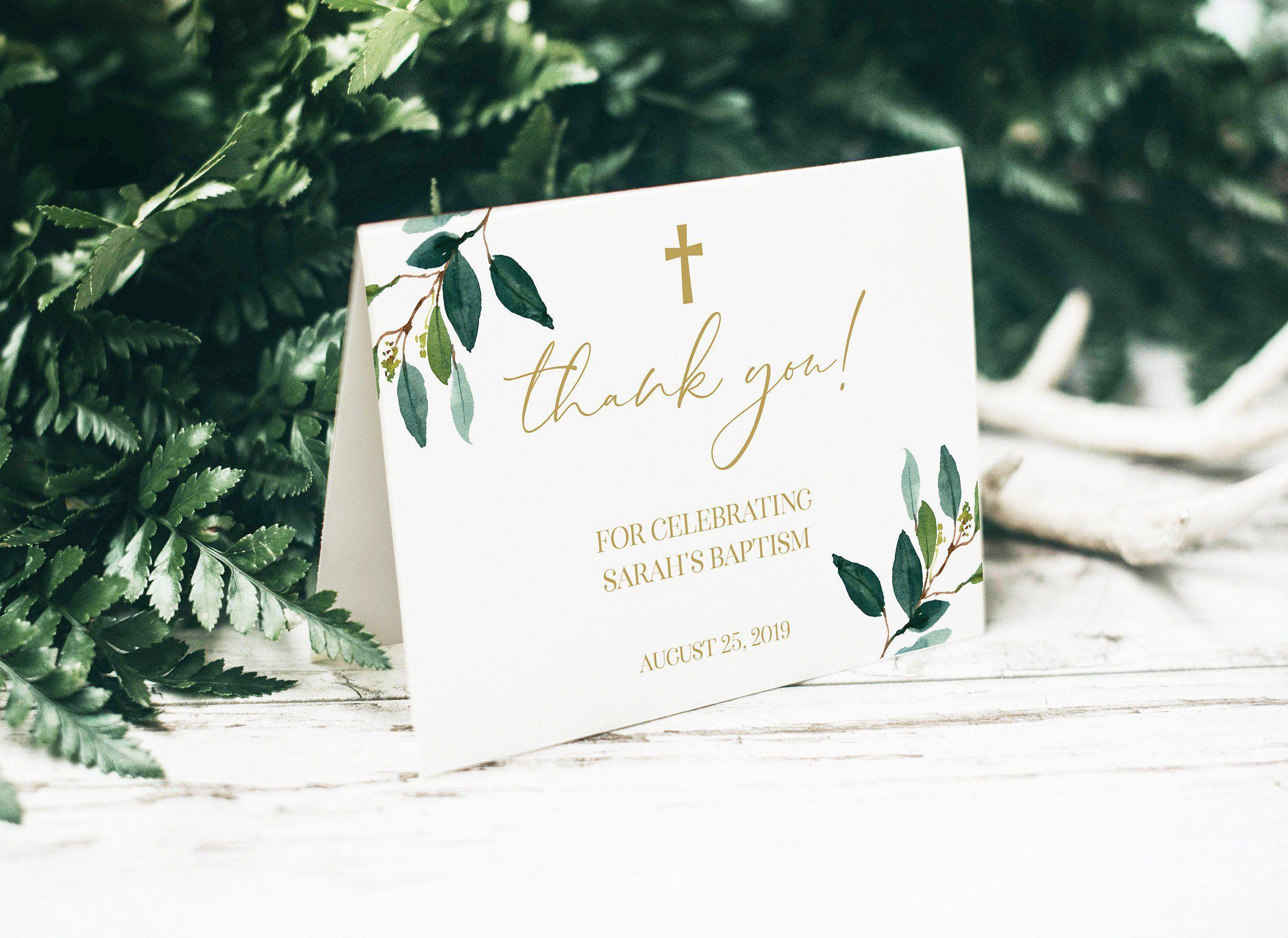 Greenery Baptism Thank You Card, Floral Baptism Decor ...