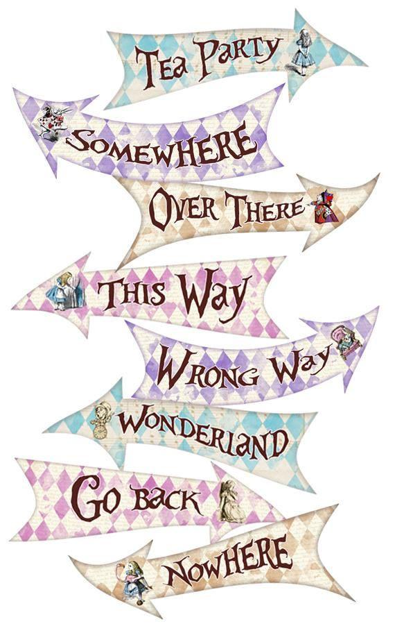 Alice In Wonderland Party Signs Alice In Wonderland Arrows Alice