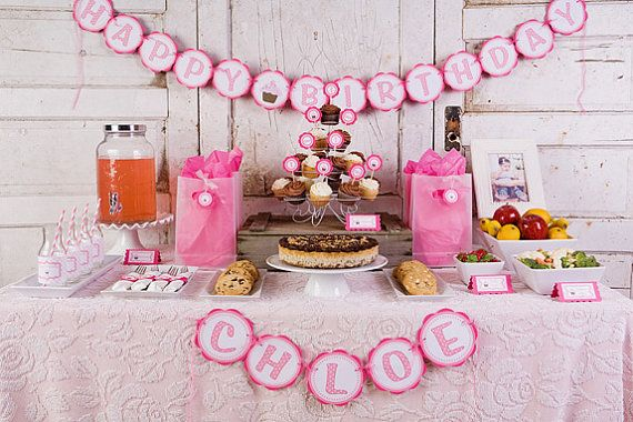 HAPPY BIRTHDAY Banner Cupcake Theme Party Decorations Cupcake